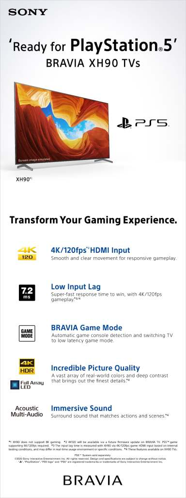 Ready for PlayStation 5 Bravia HX90 TVs